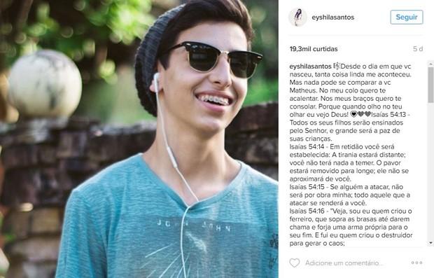Eyshila posta orações para o filho, Matheus (Foto: Reprodução / Instagram)