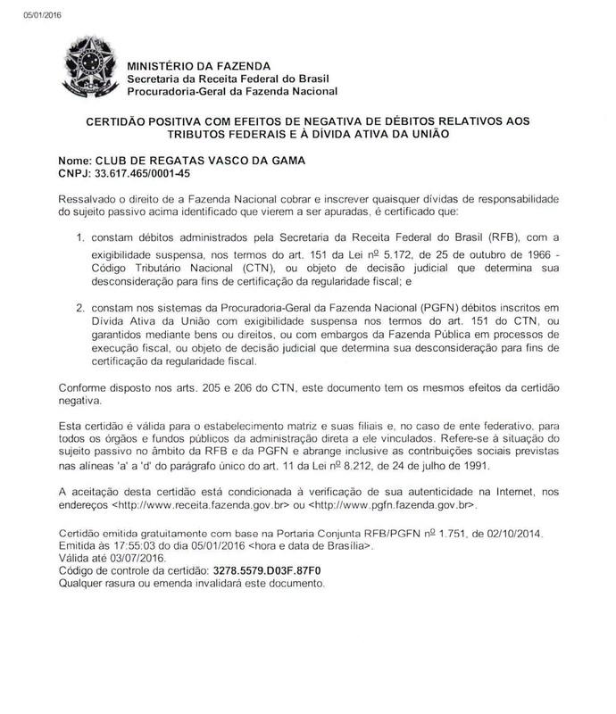 Vasco CND Profut (Foto: Divulgação)