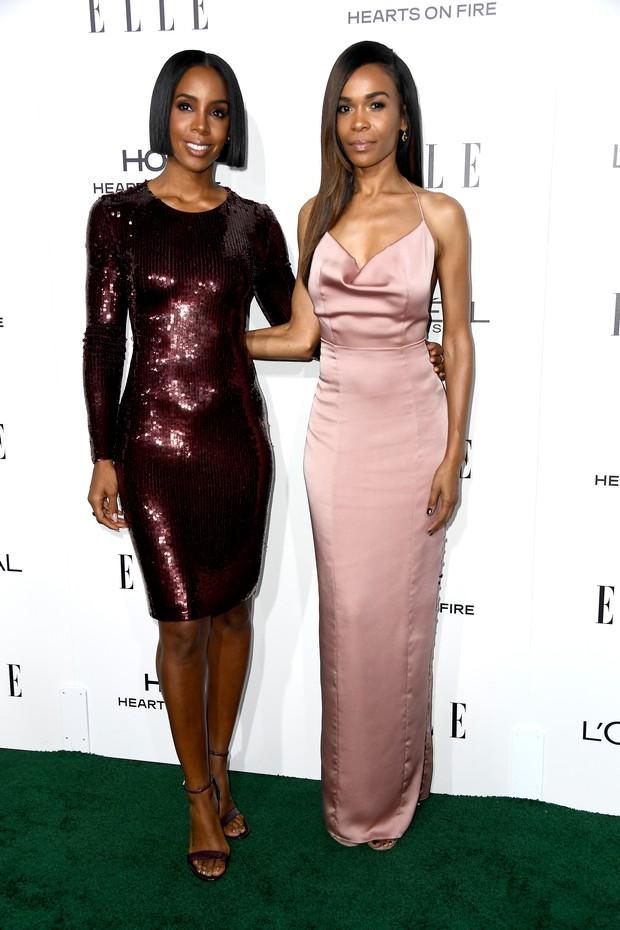 Cantoras Kelly Rowland e Michelle Williams em prêmio em Los Angeles, nos Estados Unidos (Foto: Frazer Harrison/ Getty Images/ AFP)