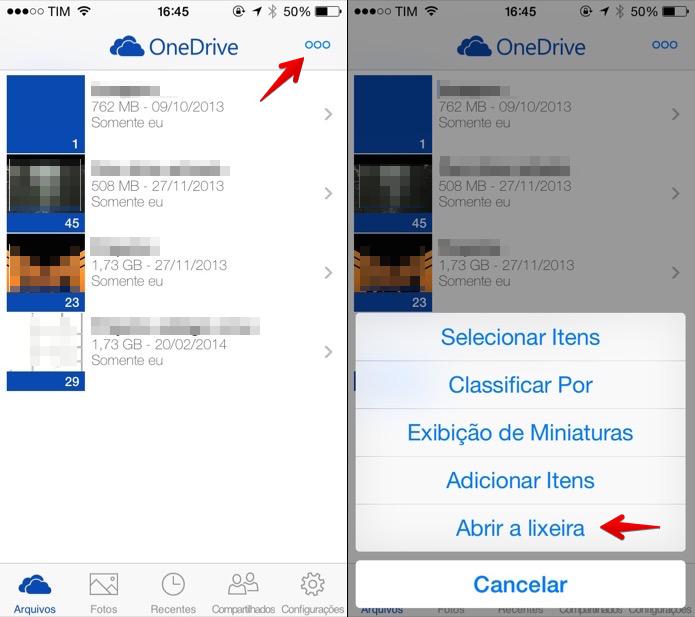 Acessando a lixeira do OneDrive no iOS (Foto: Reprodução/Helito Bijora)