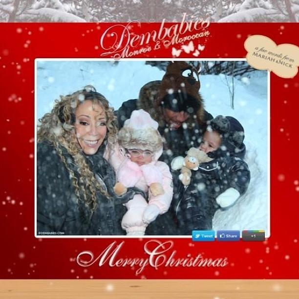 Mariah Carey posa com o marido e os filhos na neve para desejar Feliz Natal aos fãs (Foto: Instagram)