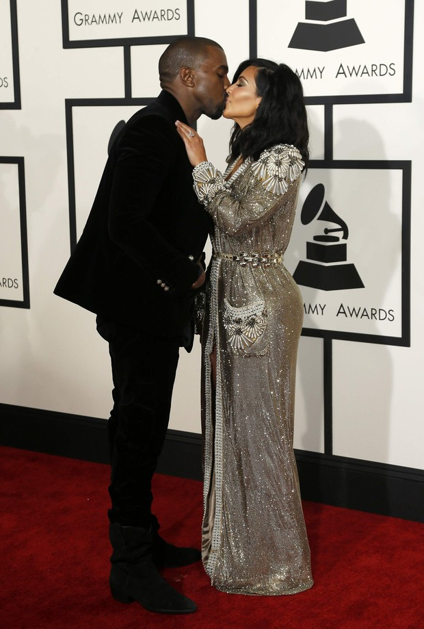 Kanye West e Kim Kardashian no Grammy 2015 (Foto: Reuters)