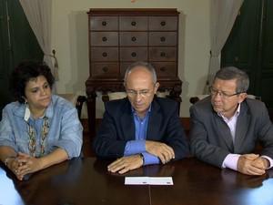 Ministra Izabella, governador Paulo Hartung e prefeito de Colatina  (Foto: Reprodução/ TV Gazeta)