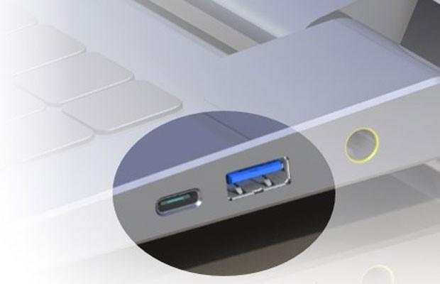 Novo modelo de UBS, o TIPO-C, instalado no chassi de um notebook. (Foto: Divulgação/USB)