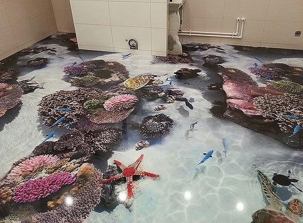 Os pisos retratam imagens bem realistas da vida marinha (Foto: Divulgação)