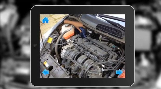 Usuário aprende a colocar mais óleo no carro por meio de aplicativo (Foto: Divulgação/Inglobe)