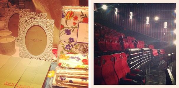 Objetos superfemininos na Zara Home e a sala do Cinépolis IMAX 4D (Foto: Renata Kalil)