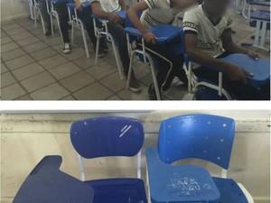 Após conversa com a direção, alunos consertaram os braços das carteiras (Foto: Reprodução/ Facebook)