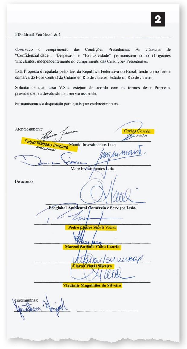 2. O contrato é assinado por Landim, Fiocca, Vladimir e os amigos de Paulo Roberto: Storti e Lauria (Foto: reprodução)