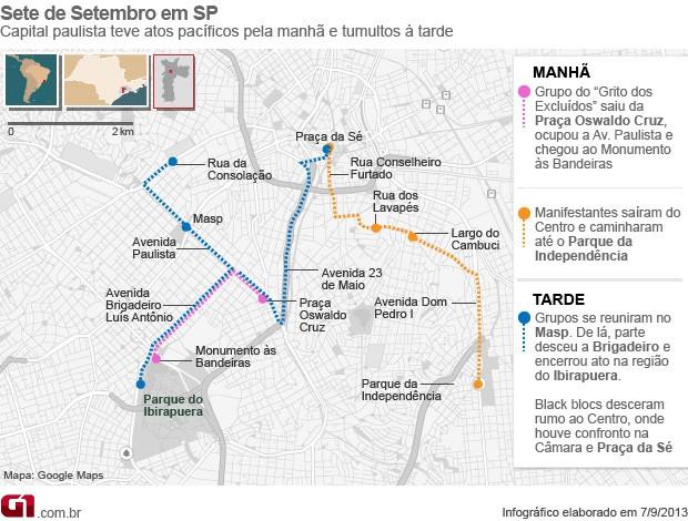 Mapa das manifestações em São Paulo no 7 de Setembro (Foto: Arte/G1)