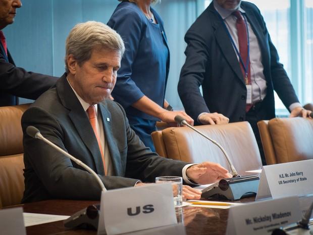O secretário de Estado dos EUA John Kerry participa de reunião sobre o Oriente Médio nesta sexta-feira (23) em Nova York (Foto: Bryan R. Smith / AFP)