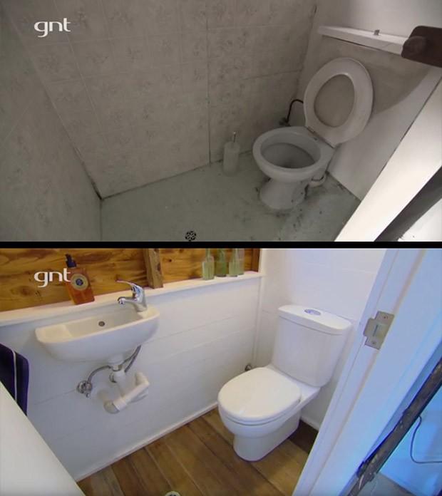 Antes e depois, quarto anexo, quarto externo, rea externa, ateli, banheiro, quarto de hspede, rei da reforma (Foto: Divulgao/GNT)