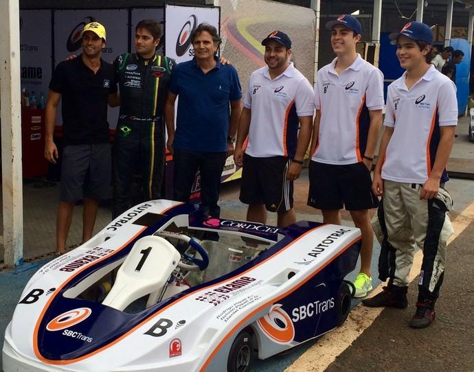 Felipe Nasr, Nelsinho Piquet, Nelson Piquet, Daniel Corrêa, Gustavo Lima, Pedro Piquet - 6h de kart de Brasília (Foto: Fabrício Marques)