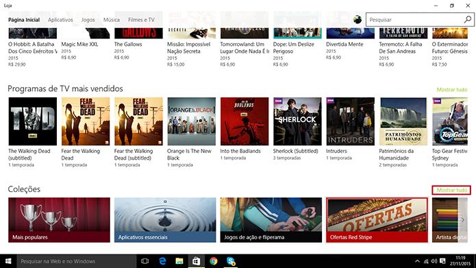 Loja do Windows tem descontos e listas disponíveis para usuário (Foto: Reprodução/Elson de Souza)