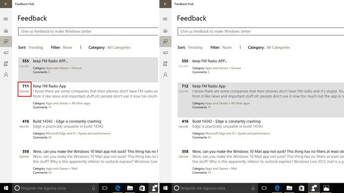 Feedback Hub permite que usuário vote em reclamação de outros usuários (Foto: Reprodução/Elson de Souza)