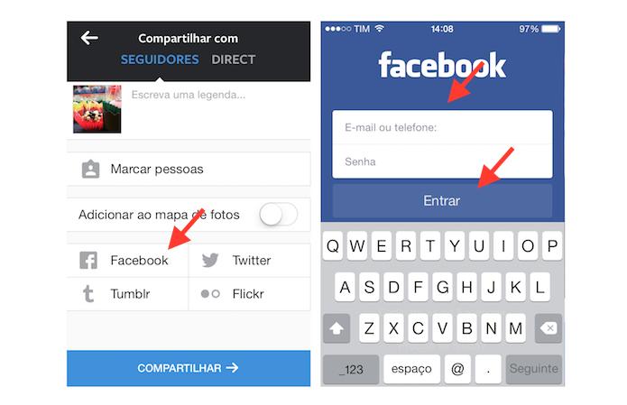 Vinculando uma conta do Facebook ao Instagram através da ferramenta de compartilhamento da rede de fotos (Foto: Reprodução/Marvin Costa)