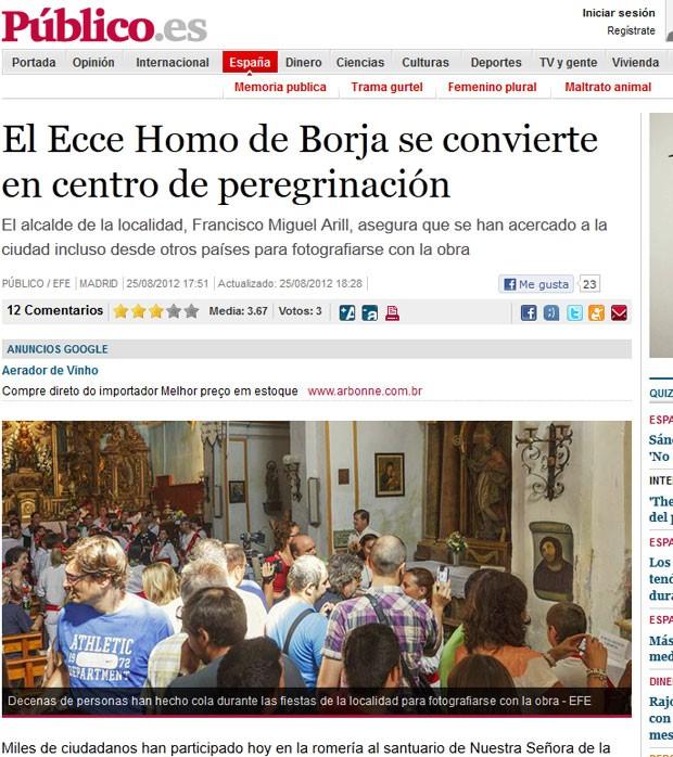 Turistas têm feito fila para tirar foto com pintura 'restaurada' na Espanha. (Foto: Reprodução)