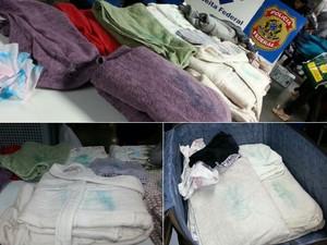 Roupas foram engomadas com 3 kg de cocaína (Foto: Divulgação/ Receita Federal)