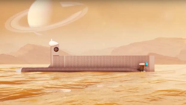 Desenho de um possível submarino para explorar as águas de Titã (Foto: Nasa)