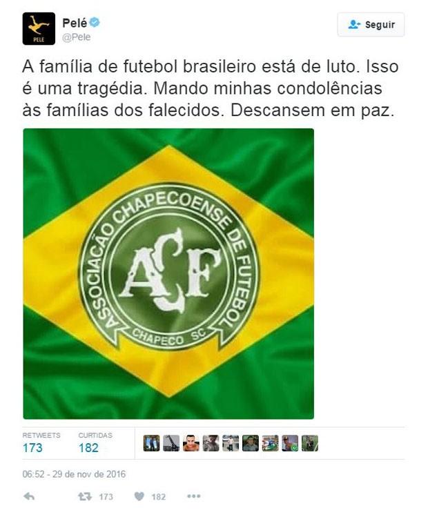 Pelé fala sobre acidente com a Chapecoense (Foto  Reprodução Twitter) 5d0c2d0cfe995