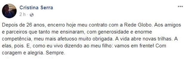 Comunicado Cristina Serra (Foto: Reprodução/Facebook)