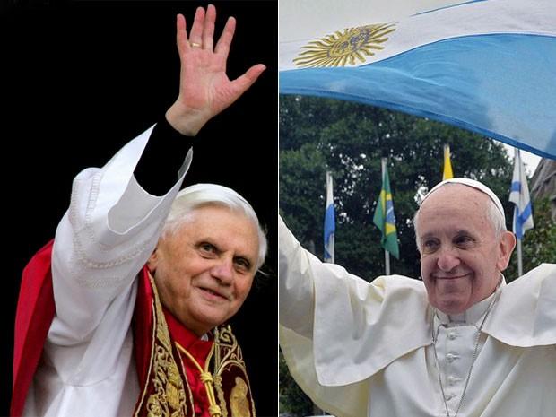À esquerda, o Papa Emérito Bento XVI, que é alemão; à direita, Papa Francisco segura bandeira da Argentina, país onde nasceu  (Foto: Max Rossi/Reuters/Luca Zennaro/AFP)