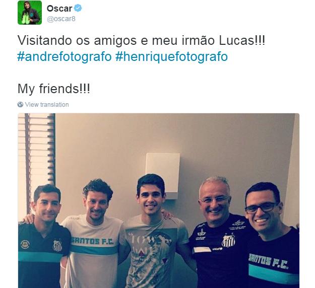 BLOG: De folga no Chelsea, Oscar visita o Santos antes de partida contra o Rio Claro