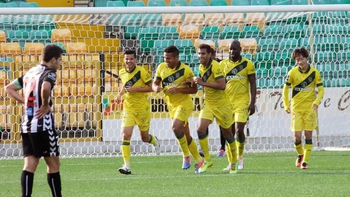 Welthon marcou dois, dos quatro gols do Paços Ferreira na vitória contra o Nacional (Foto: Paços Ferreira/Divulgação)
