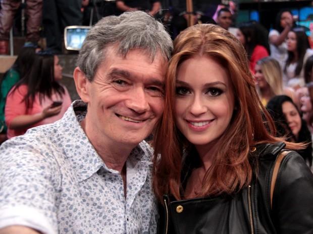 Serginho Groisman registra o encontro com Marina Ruy Barbosa (Foto: Marcos Mazini/Gshow)