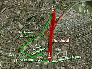 Opção motoristas avenida brasil interdição (Foto: Reprodução / TV Globo)