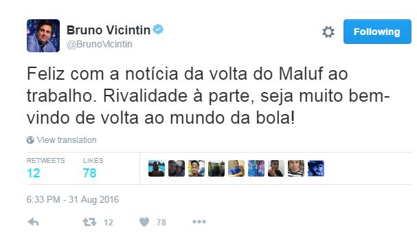 Bruno Vicintin, do Cruzeiro, deixou a rivalidade de lado, para comemorar a volta de Maluf ao Atlético-MG (Foto: Reprodução/ Twitter )