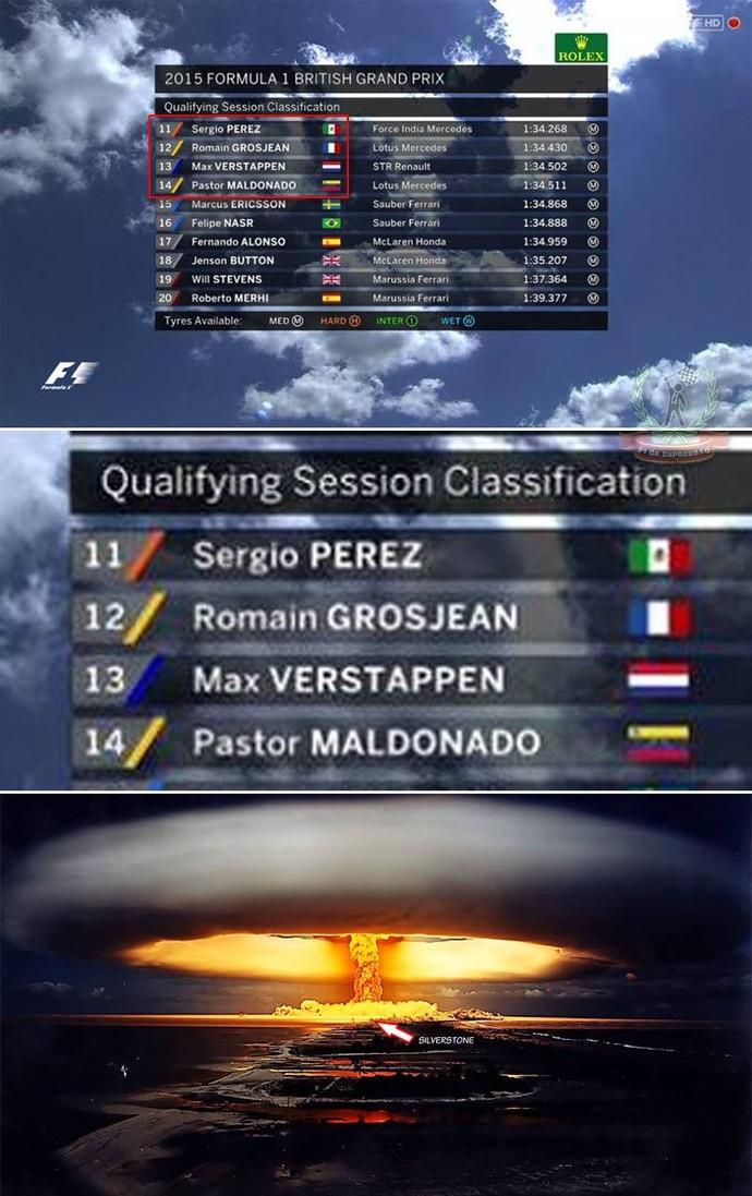 Brincadeira com o grid de largada da Fórmula 1 na Inglaterra (Foto: Reprodução/Twitter)