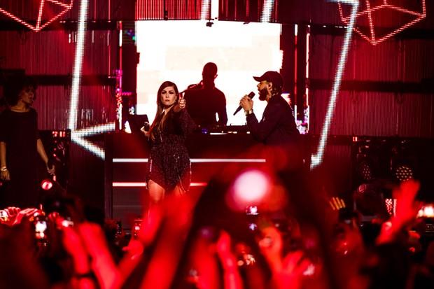 Pitty e Emicida fazem dupla em gravação de DVD (Foto: José de Holanda)