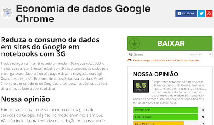 Baixando extensão de economia de dados do Google (Foto: Reprodução/Helito Bijora)