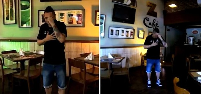 Pará dança e canta durante entrevista (Foto: Reprodução/RBS TV)
