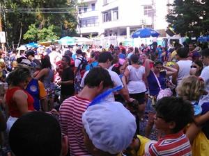 Pequenos foliões lotam o bloco Gigantes da Lira, que vai desfilar pela Rua General Cristóvão Barcelos, em Laranjeiras, Zona Sul da cidade. (Foto: Janaína Carvalho/G1)