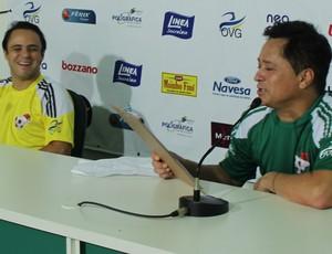 Leonaro e Felipe Massa, em jogo beneficente em Goiânia (Foto: Fernando Vasconcelos / Globoesporte.com)