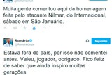 "Após reverência, Romário agradece Nilmar: ""Feliz por inspirar gerações"""