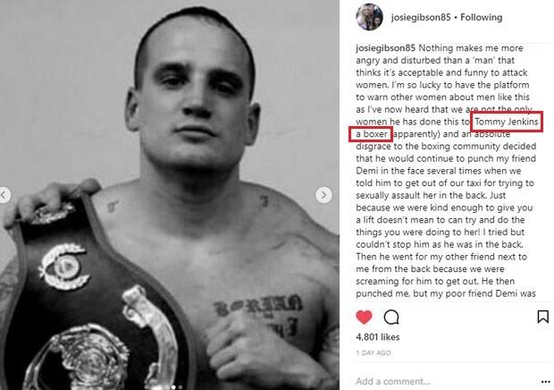 Josie Gibson denuncia agressão do boxeador Tommy Jenkins (Foto: Reprodução/Instagram)