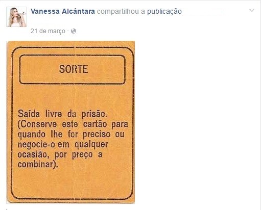 Poucos dias antes de ser presa, Vanessa compartilhou mensagem sobre prisão nas redes sociais (Foto: Reprodução/Facebook)