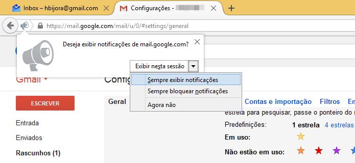 Ativando notificações do Gmail no Firefox (Foto: Reprodução/Helito Bijora)