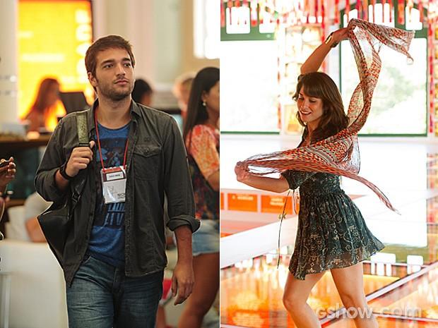 Davi fica de queixo caído ao ver Manu dançar no festival (Foto: João Cotta / TV Globo)