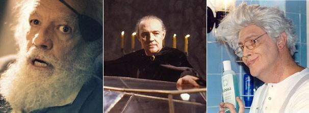 Ney Latorraca em três momentos na tela da Globo: no especial 'Alexandre e outros heróis' (2013), como o vampiro Vlad em 'Vamp' (1991) e o hilário Barbosa no humorístico TV Pirata (1988) (Foto: Cedoc / Globo)