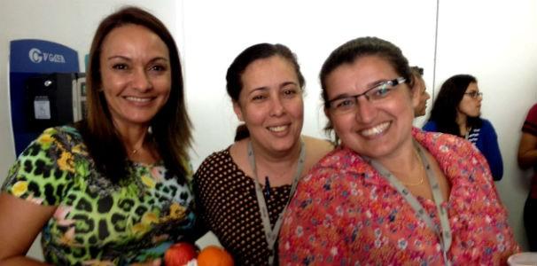 Apresentadora Liara Nogueira ao lado das colegas jornalistas  (Foto: Divulgação/ Marketing TV Gazeta)