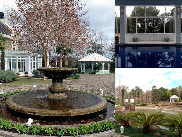 Chafariz, piscina e espaço destinado a casamentos (Foto: Montagem sobre fotos de Roberta Salinet/RBS TV)