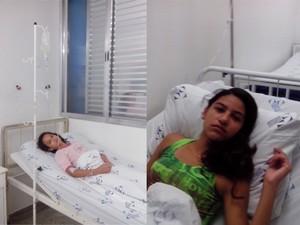 Mariana (dir.) e Luana (esq.) estão internadas após reação à vacina contra o HPV (Foto: Arquivo Pessoal / Fabíola Freitas de Lima)