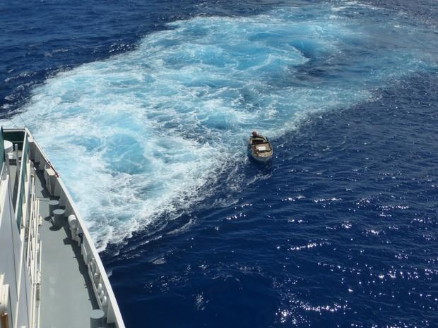 Naufrágo ficou à deriva por quase dois meses em pequena embarcação (Foto: Patricia Anhas / Arquivo Pessoal)