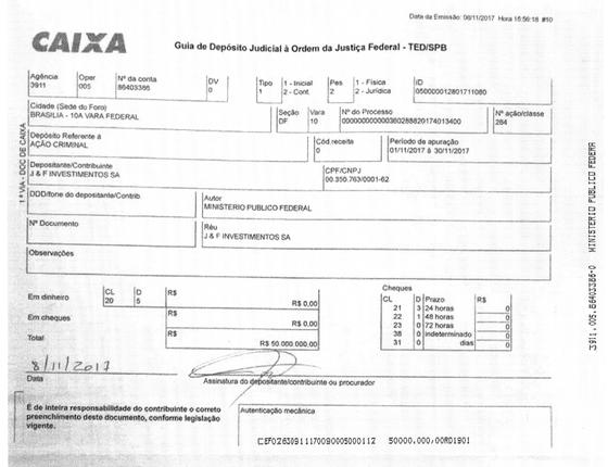 J&F paga R$ 50 milhões relativos a acordo de leniência (Foto: Reprodução)