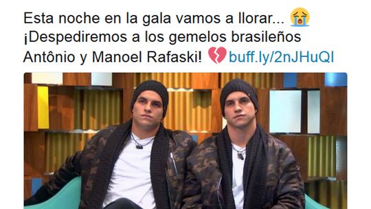 Gêmeos na Espanha: Antônio e Manoel deixam a casa do Gran Hermano nesta quinta