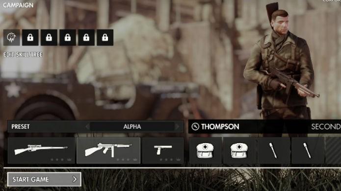 Sniper Elite 4: mude de arma na tela de Loadout (Foto: Reprodução/Thomas Schulze)